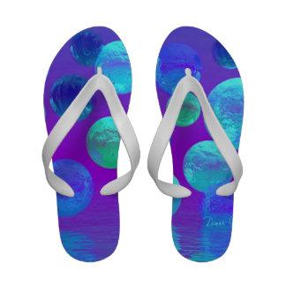 Violet Mist, Cyan and Purple Abstract Light Flip Flops