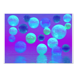 """Violet Mist - Cyan and Purple Abstract Light 5"""" X 7"""" Invitation Card"""
