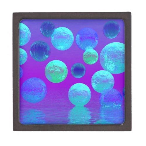 Violet Mist - Cyan and Purple Abstract Light Keepsake Box