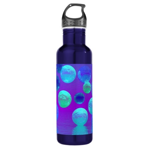 Violet Mist - Cyan and Purple Abstract Light Water Bottle