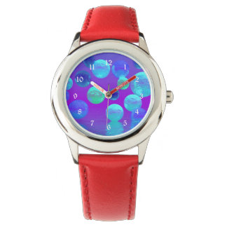 Violet Mist, Cyan and Purple Abstract Light Wrist Watch