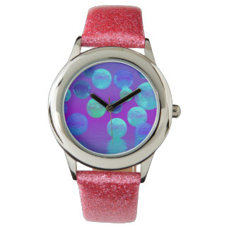 Violet Mist, Cyan and Purple Abstract Light Wrist Watches
