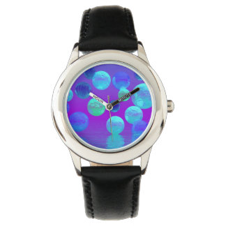 Violet Mist, Cyan and Purple Abstract Light Wristwatch