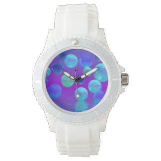 Violet Mist, Cyan and Purple Abstract Light Wristwatches