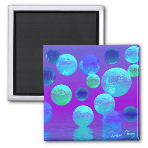 Violet Mist - Cyan and Purple Light 2 Inch Square Magnet