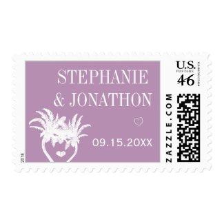 Violet Modern Typography Chalkboard Wedding Postage Stamps
