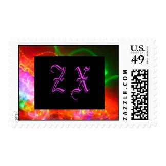 Violet Monogram on Black Postage Stamp