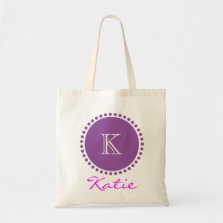 Violet Monogram Personalized Design Canvas Bags