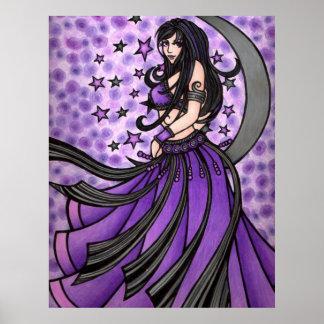 Violet Moon Goddess Belly Dancer Art Posters