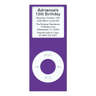 Violet MP3 Player iParty Birthday Party Card
