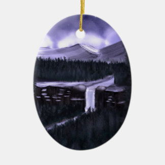 Violet Night with Snow Christmas Tree Ornament
