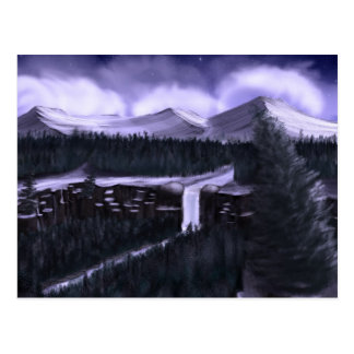Violet Night with Snow Postcard