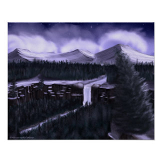 Violet Night with Snow Print