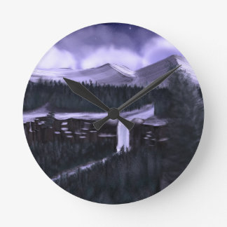 Violet Night with Snow Round Wall Clock
