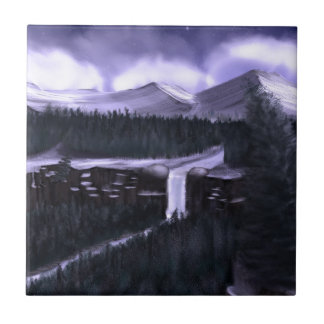 Violet Night with Snow Small Square Tile