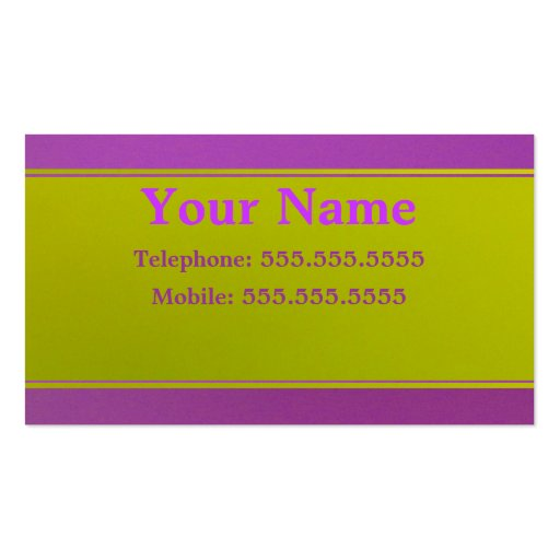 Violet On Green Business Card Template