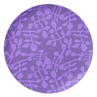 Violet on Purple Leaf Pattern Melamine 10 In Plate