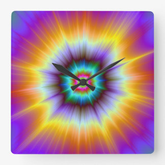 Violet Orange and Turquoise Explosion Wall Clock