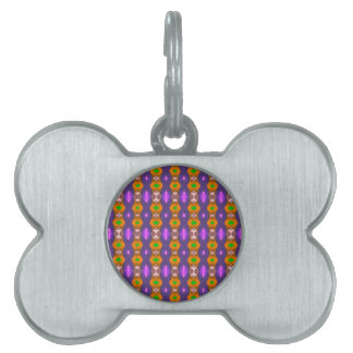 Violet Orange Chains Abstract Pattern Pet Name Tags