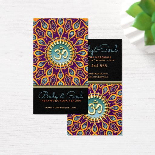 Violet Orange Teal Mandala Energy Yoga Om New Age Business Card