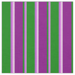 [ Thumbnail: Violet, Orchid, Green, Purple & White Pattern Fabric ]
