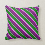 [ Thumbnail: Violet, Orchid, Green, Purple & White Pattern Throw Pillow ]