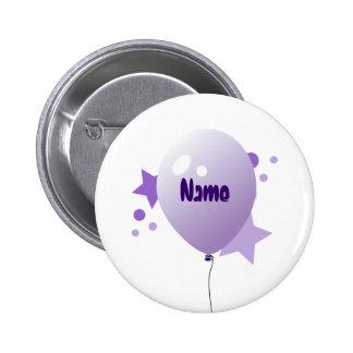 Violet Party Balloon Name Button