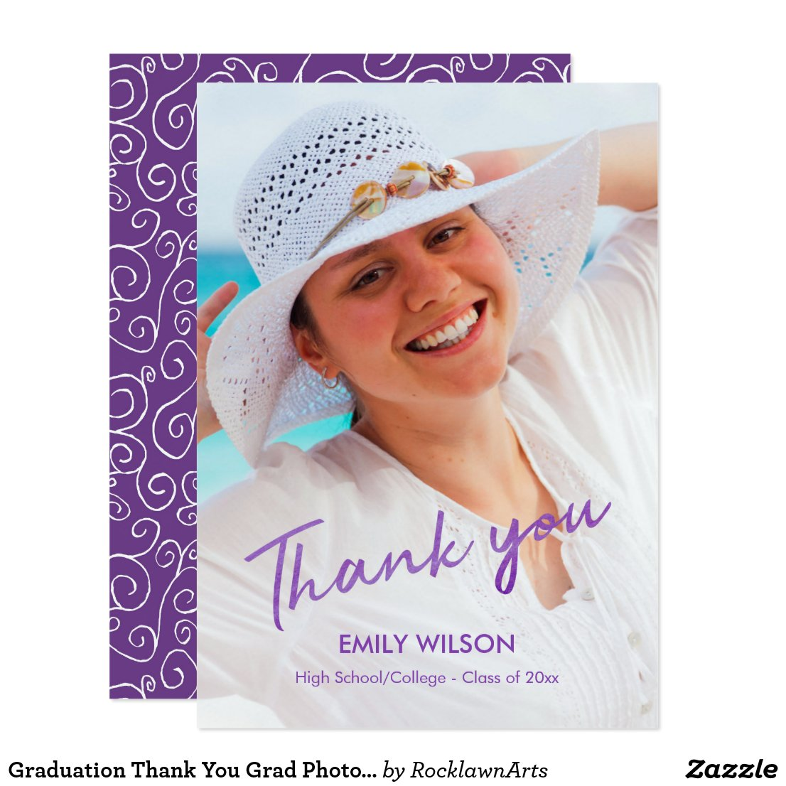 Violet Pattern Grad Photo Graduation Thank You Card