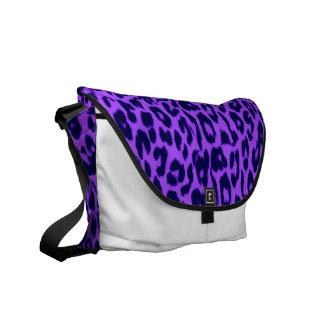 Violet pattern leopard fur texture courier bag