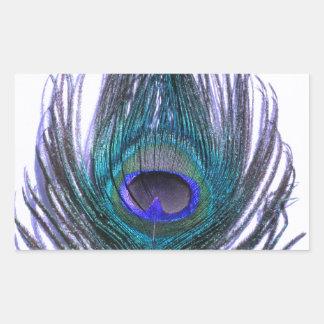 Violet Peacock Feather Rectangular Sticker