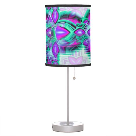 Violet Peacock Feathers, Abstract Crystal Mint Desk Lamp