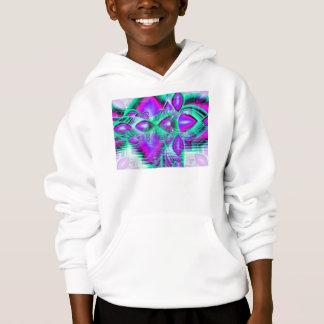 Violet Peacock Feathers, Abstract Crystal Mint Hoodie