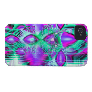 Violet Peacock Feathers, Abstract Crystal Mint iPhone 4 Cover