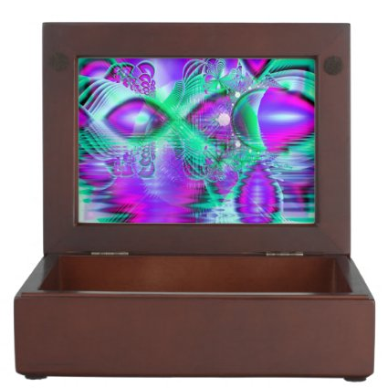 Violet Peacock Feathers, Abstract Crystal Mint Memory Box