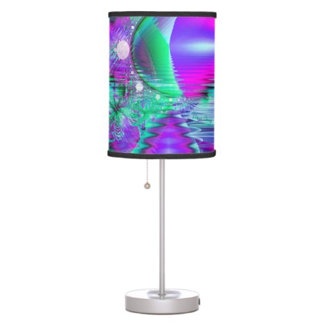 Violet Peacock Feathers, Abstract Crystal Mint Table Lamp