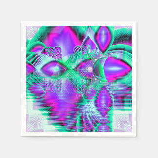 Violet Peacock Feathers, Abstract Crystal Mint Paper Napkins