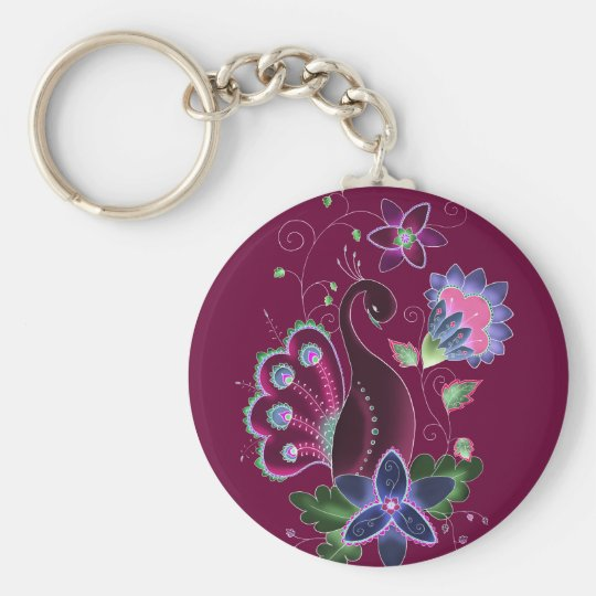 Violet Peacock Key Chain