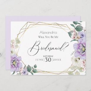 Bridesmaid Proposal Bridesmaid Gift Floral Personalized Bridesmaid Cards MIRABELLE in LILAC Wedding Cards Bridal Cards