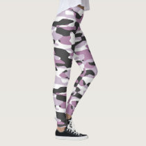 Violet Pink Purple Gray White Camouflage Pattern Leggings