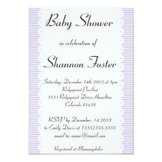 Violet Pinstripes Baby Shower Invitations