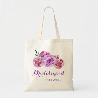 Violet plum purple bouquet wedding bridesmaid tote bag