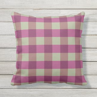 Violet Plum Tan Buffalo Check Outdoor Pillow 16x16