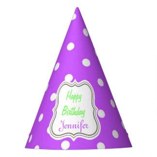 Violet polka dot glamour modern fashion party hat