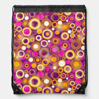Violet Polka Dot Pattern Drawstring Backpack