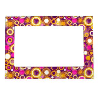 Violet Polka Dot Pattern Magnetic Frame