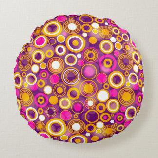 Violet Polka Dot Pattern Round Pillow
