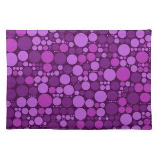 Violet Polka Dots   Abstract Art Cloth Placemat