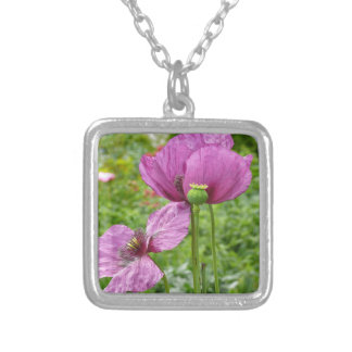 Violet Poppies / Purple Poppies Silver Plated Necklace