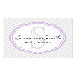 Violet professional card of monograma and chevrón business card templates