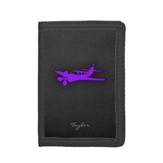 Violet Purple Airplane Tri-fold Wallet